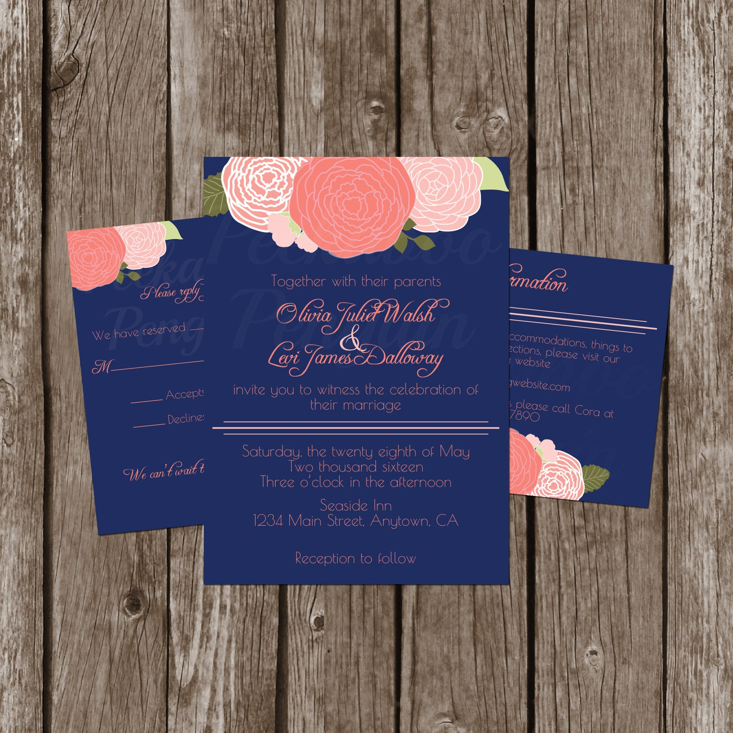 navy and coral wedding invitations navy and coral wedding invitations floral by peekaboopenguin 6112