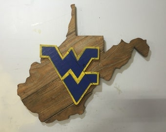 West Virginia Mountaineers WVU Rustic Wooden Sign