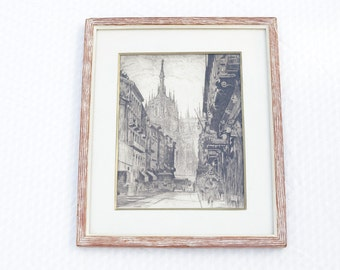 """Framed Print - Appears Marked """"Milan Duomo"""" - Ready to Hang Fine Art - European Architecture - Handsome Piece"""