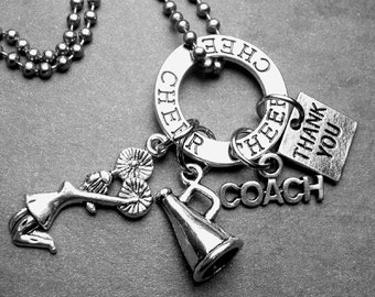 Cheer Coach Cheerleader Thank You Charm Necklace