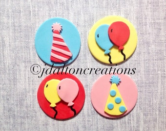 12 Balloon Party Fondant Toppers