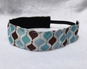 Blue and Brown Hourglass Headband- Curves- Sport Headband- 1.5 inch headband- no slip- nonslip headband