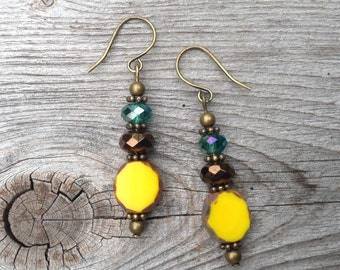 Bright Yellow, Brown and Green Earrings