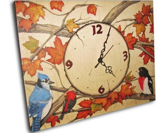 ON SALE ! Clock, Autumn Clock, handmade unique clock, wood wall clock
