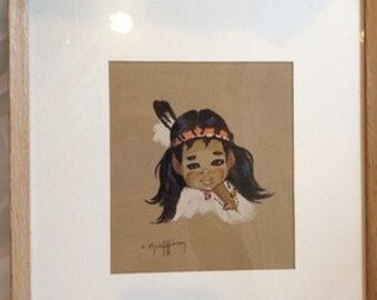 "Gerda Christoffersen Signed Native American Papoose Print ""White Feather"""