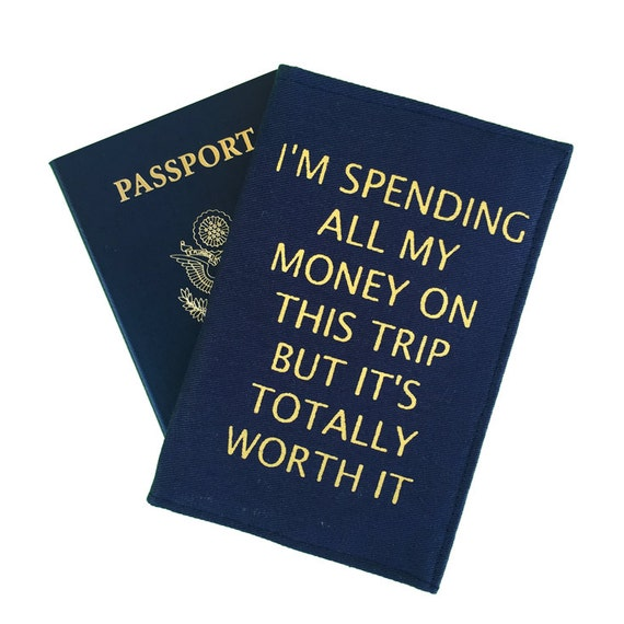 Navy passport cover quirky quote travel gifts backpacking
