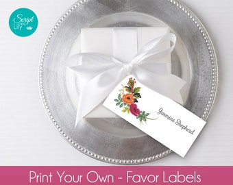 "Flower  Favor Labels, Tags,  Place Name Card Templates | INSTANT DOWNLOAD | EDIT Text & Print | DiY | Orange Red  | Pc /  Mac | 1.35""x3.15"""