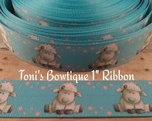 """Cute Lamb 1"""" printed Ribbon, Hairbow Ribbon, Craft Ribbon, ribbon for bows, craft supply, lanyard supply, animal ribbon"""