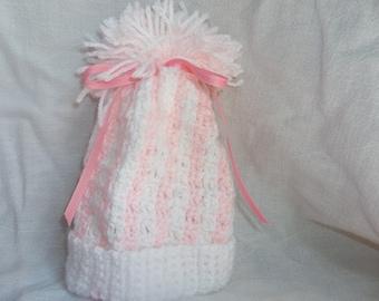 Pink Cochet Baby Hat