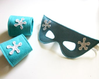 Snowflake Mask & Cuffs Set - Ice Queen Mask - Ice Queen Cuffs - Frozen Costume - Snow Queen Mask and Cuffs - Frozen Party - Princess Mask