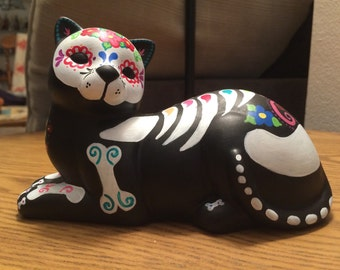 READY TO SHIP Day of the Dead Dia de los Muertos Hand Painted Ceramic Cat