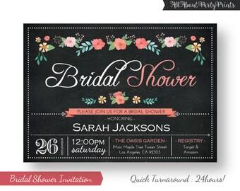 Flower Chalkboard Bridal Shower Invitation -Bridal Shower invite- PDF format-digital file