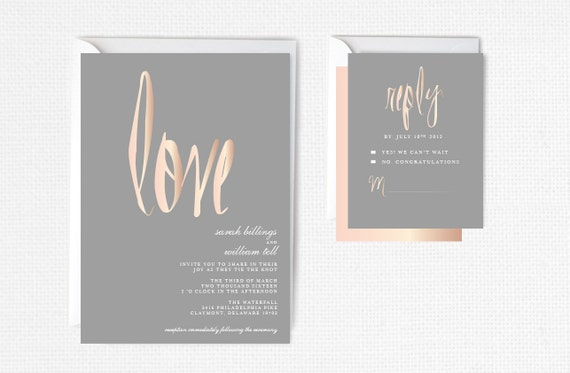 Rose Gold Wedding Invitation Rose Gold Foil Modern By P27creative