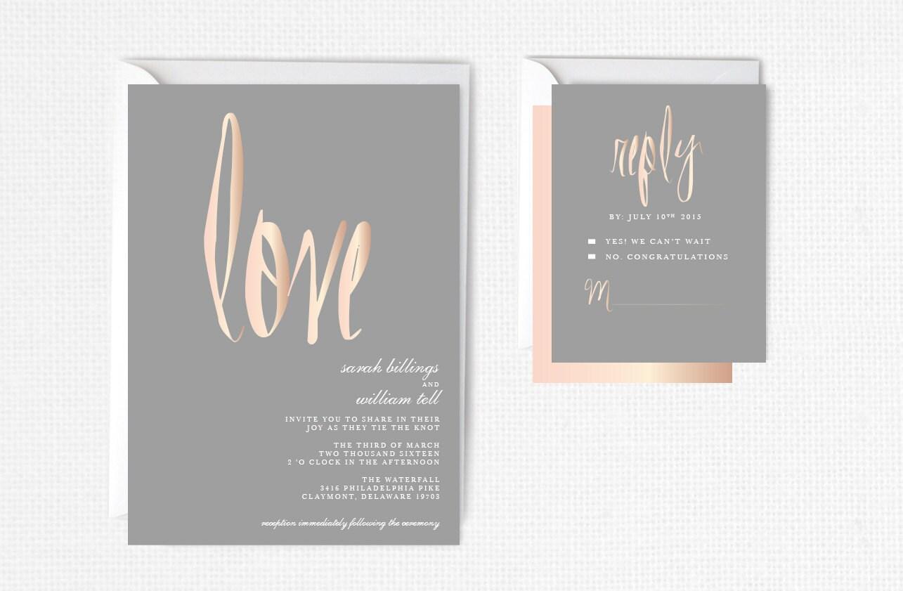 Wedding Invitations Rose: Rose Gold Wedding Invitation Rose Gold Foil Modern By