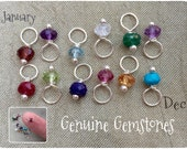 Add a birthstone - Sterling silver genuine gemstone - TINY garnet amethyst aquamarine crystal emerald ruby peridot sapphire quartz turquoise