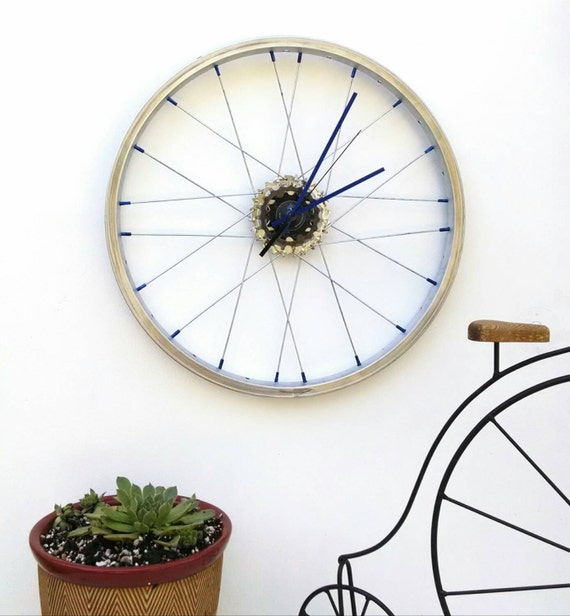 Bicycle wheel clock bike art wall clock handmade in usa for Bicycle wheel wall art