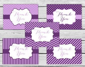 THANK YOU Note Card Set - Dark PURPLE, Motivational Cards, Positive Inspiration, Printed Thank You Cards, Stationery