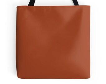Burnt Orange Tote Bag, Burnt Orange Bag, Brown Purse, Brown Bag, Brown Bookbag