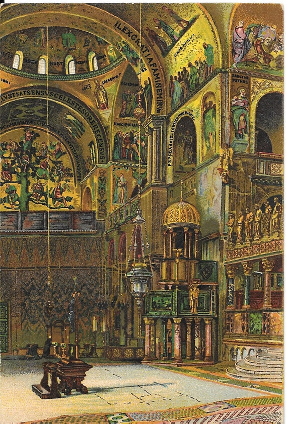 Basilica di S. Marco, Venezia, General View of the Interior,  Italy, Antique c.1920 Unused Color Postcard