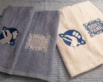Set of 2 Hitchhikers Guide To The Galaxy Logo and Don't Panic Embroidered Blue and White Hand Guest Towels Choose Your Colors Great Gift