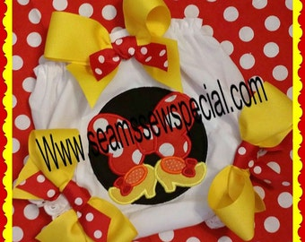 Red Mouse Applique Bloomers / Diaper Cover