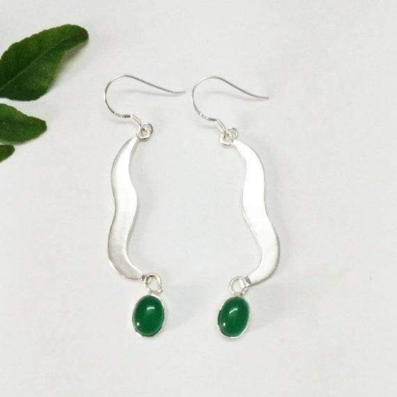 Attractive Green Onyx Gemstone Earrings By Silverjewelryzone