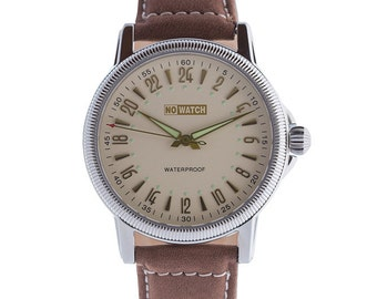 Retro style Limited Edition 24 hour watch. Stainless Steel/Hard mineral glass/Swiss movement/True leather