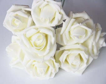 8 pieces Artificial Flowers, Wedding Flowers Supplies, Fake Foam Roses, Floral Wedding Decor Bridal Bouquet Flowers(122-16)