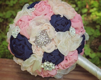 Wedding Bouquet | Bridal Bouquet | Fabric Wedding Bouquet | Brooch Bouquet | Rustic Bridal Bouquet | Navy and Blush Wedding Bouquet