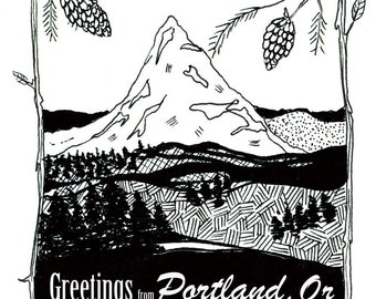 Greetings from Portland, OR - Nature Outdoors Greeting Card - Blank Inside - (4.25x5.5)