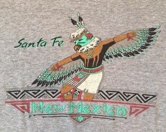 90's Kachina Dancer Santa Fe Tshirt - 50/50 - Men's Vintage Large