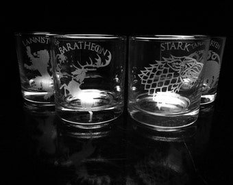 Game of Thrones- Set of Four- House Rock Glasses- Sigil and Name-Old Fashioned Glass - Etched