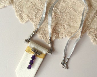 Lagenlook, OOAK amethyst and silver necklace with calico panel, lovely Mother's Day gift