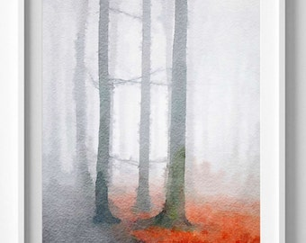 Black Forest Print Watercolor Painting Wall Art Home Decor In
