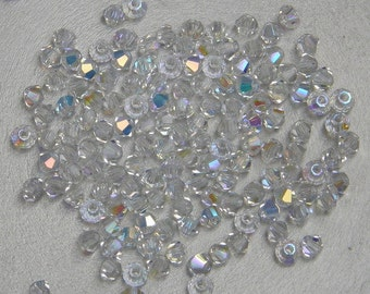 3mm Bicone Crystals, Crystal AB, 25 count