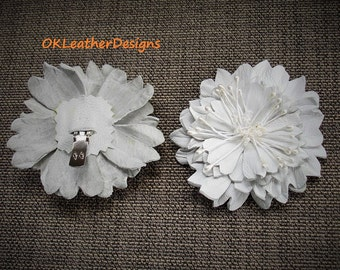 Leather Flower Shoe Clips Wedding Accessories Black/White