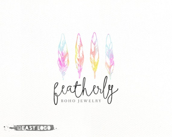 Boho Watercolor Feather Logo Design Premade Template