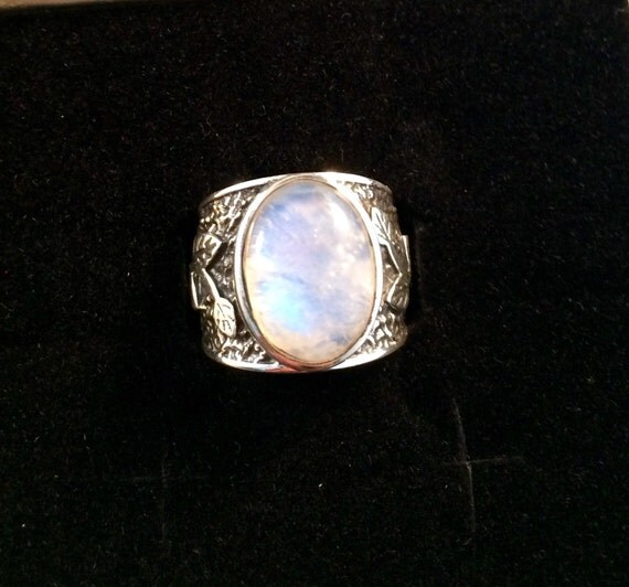 sterling silver rainbow moonstone ring size 6