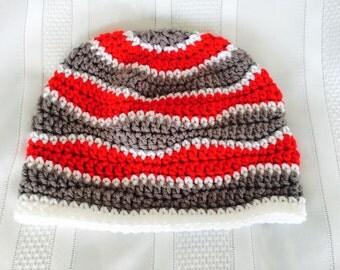 Ohio State Buckeyes Hat - Children's Beanie - Wave Pattern - Scarlet, Grey and White - Handmade Crochet - Children's Hats and Accessories