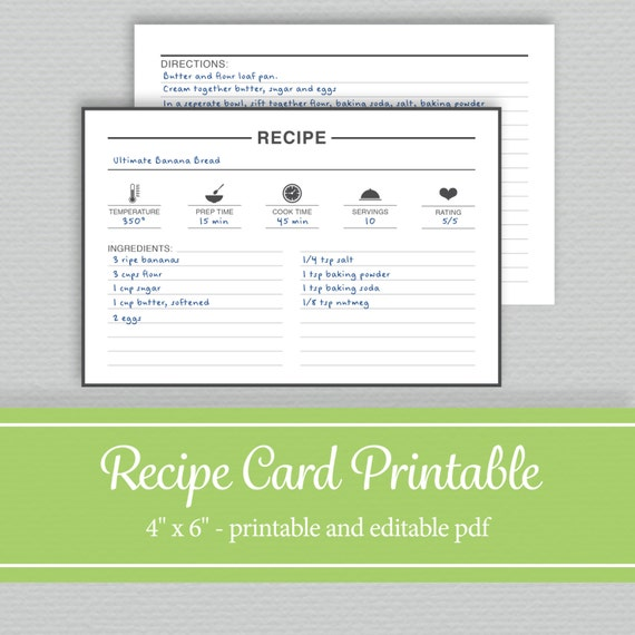 Editable and printable recipe cards 4x6 by for Editable recipe card