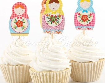 12 Set Russian Doll Cupcake Picks,Cake, Toppers, Picks, Party Picks