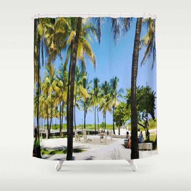 Beachfront Shower Curtain Palm Trees Park By Mirabellamarket