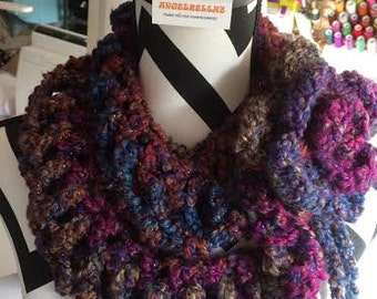 Crocheted Infinity Scarf with Cabbage Rose