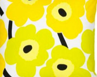 "Marimekko Yellow Unikko pillow case, 18x18"", Maija Isola design, Finland"