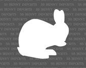 Washing bunny decal, rabbit silhouette vinyl sticker, glossy white