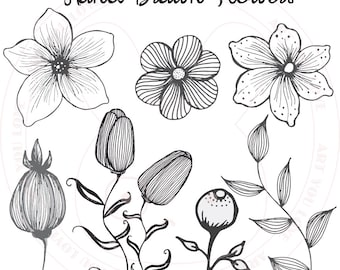 Flower Clipart Black and White [hand drawn clip art]