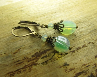 MOORLAND magic, earrings earrings bronze green white enchanted, handmade, original vintage glass beads, magic fairytale magic