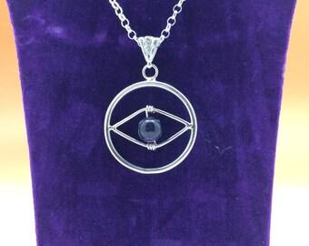 Sterling Silver Eye With Amethyst Bead Hallmarked.