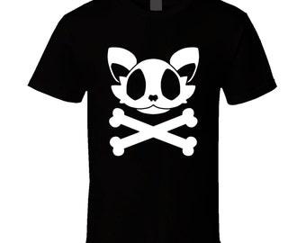 Cat Skull and Crossbones - Cute Black T-Shirt