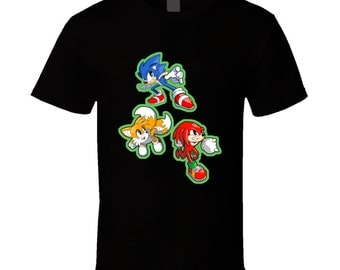 Sonic the Hedgehog - Sonic, Tails, and Knuckles - Black T-Shirt